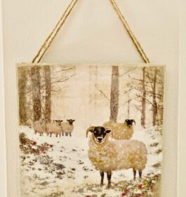 Sheep In Snow Decoupage