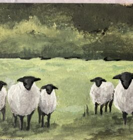 Sheep Family in Meadow #3