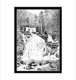 Bastion Falls, Catskill State Park, Pen and Ink Print