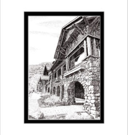 Bear Mountain Inn, Pen and Ink Print