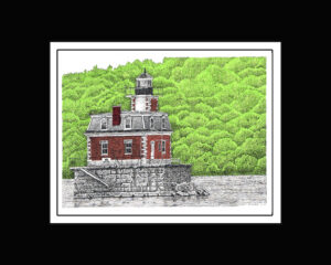 Hudson-Athens Light House, Pen and Ink Print
