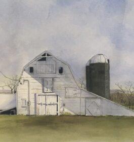"""""""White Barn Gardiner"""" Marge Morales Giclee Print"""