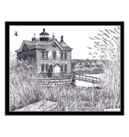 Saugerties Light House, Pen and Ink Print