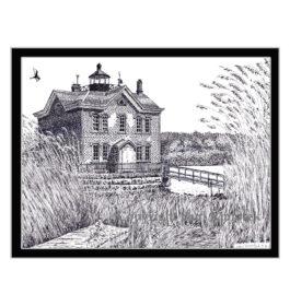 Saugerties Light House, Pen and Ink Print