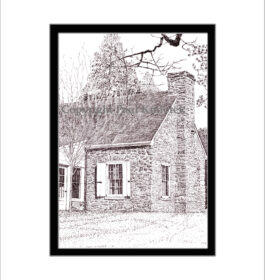 Cottage at Val Kill, Pen and Ink Print, Eleanor Roosevelt
