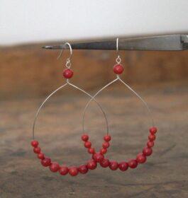 Red Big Hoop Earrings