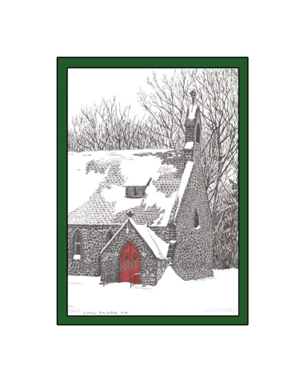Kmiotek Art Works - Gloria Dei Church, Palenville, NY, Pen and Ink Print